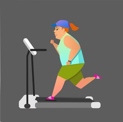 Obese young woman running on treadmill.