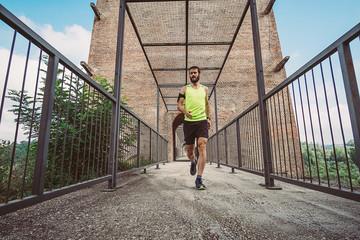 Wall Mural - Man running offroad