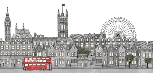 London, UK - seamless banner of London's skyline, hand drawn and digitally colored ink illustration