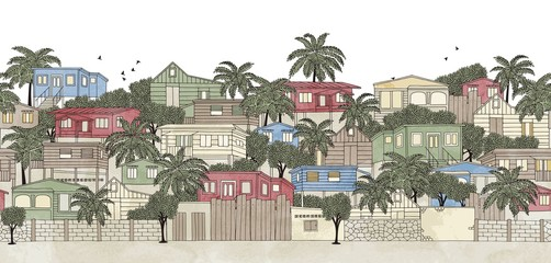 Caribbean village, seamless banner (hand drawn ink illustration with watercolor)