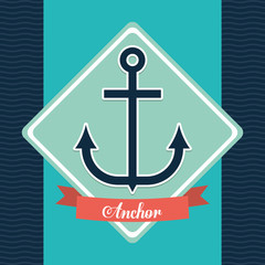 Sea lifestyle design represented by anchor icon over frame shape. Colorfull and flat illustration. Striped background.