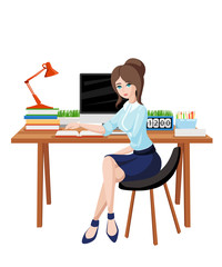 Business woman or a clerk working at her office desk. Flat style vector illustration