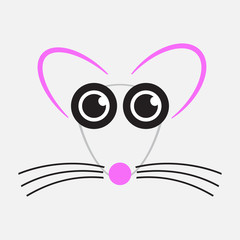 drawing mouse - pink, black and gray