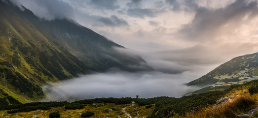 Mountains Landscape with Fog in Ziarska Valley