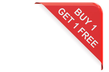 Buy 1 Get 1 Free, red corner. Sale and discount concept 3D rende