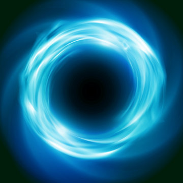 Bright cosmic vector background with blue glowing vortex. Abstract astronomy wallpaper design with super nova or black hole