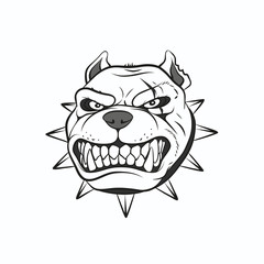 Vector illustration angry pitbull, on a white background