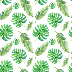 Tropical leaves saemless pattern