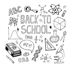 Vector hand drawn education doodles. Math, biology sketch drawing. Back to school illustration.