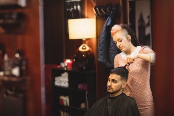 Man getting his hair trimmed