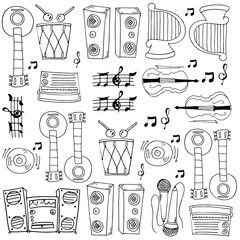 Doodle of music theme vector art