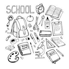 Back to school hand drawn illustration. Set of school supplies.