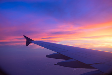 Sunset sky from the airplane window