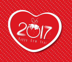 happy new year 2017 with heart greeting