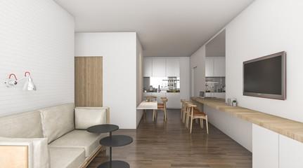 3d rendering living room in condominium idea with nice decoration
