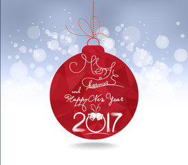 Christmas and happy new year 2017 red geometrical balls greeting card