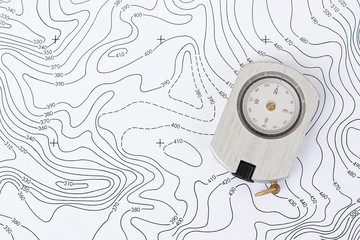 Compass on Topographic Map. Wall mural