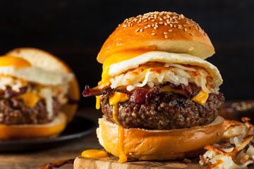 Homemade Breakfast Cheeseburger with Bacon