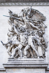 A detail of one of the carvings on the Arc de Triomphe in Paris, France