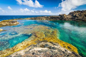 Foto auf Acrylglas Kanarische Inseln Incredible natural pool at the coastside of lanzarote in nature. Lanzarote. Canary Islands. Spain