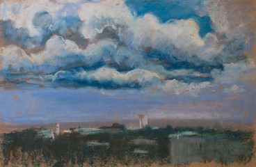 Storm painting. The unique pastel painting with landscape, town and blue sky and white cloud.