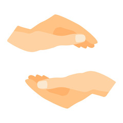 Flat human hands isolated creativity concept. Hands fingers symbol isolated, flat style hands holding. Touch vector human elements. People body parts, holding some things