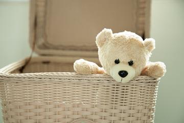 toy teddy bear in basket