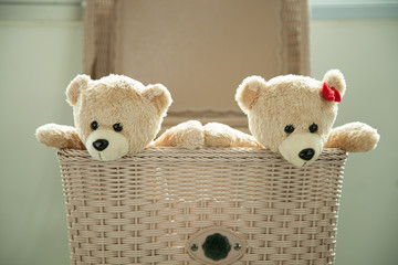 two toy teddy bear in basket