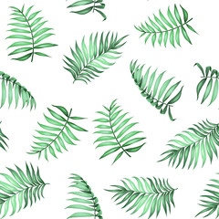 Topical palm leaves on seamless pattern for fabric texture. Vector illustration.