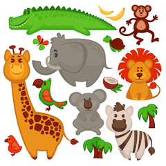 Vector Set Of Different cute African Animals.