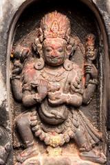 A sculpture of the Hindu god Shiva in his tantric form of Bhairava in Svayambhunath, Nepal