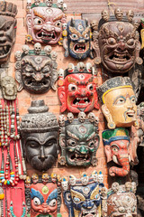 Traditional Buddhist masks in Swayambhunath, Nepal.
