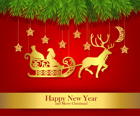 New Year greeting card with gold silhouette of Santa Claus