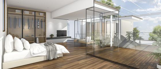 3d rendering nice view bedroom with wood terrace