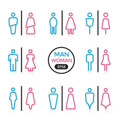 Man and Woman color sign outline stroke vector illustration