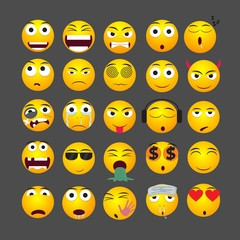Yellow emoticons collection