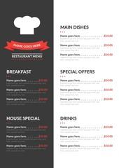 Modern menu