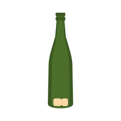 Empty bottle of champagne icon in flat style isolated on white background. Drink symbol
