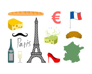 France set icons. Traditional travel symbol. Sights and characte