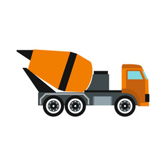 Truck mixer icon in flat style isolated on white background. Transportation symbol