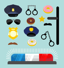 Police icons set. Symbols policeman. Cop accessories in flat sty