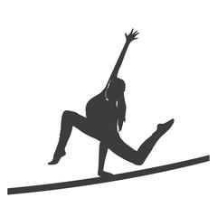 Silhouette einer Frau, die Gymnastik macht