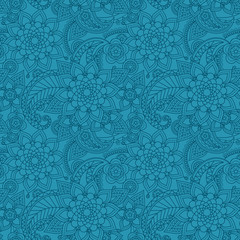 lue color arabic paisley pattern with flowers. Vector illustration