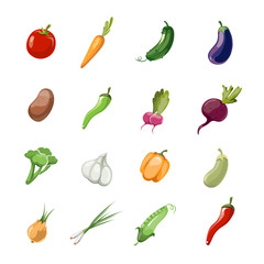 Vegetables vector cartoon icons