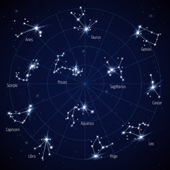 Vector sky star map with constellations stars