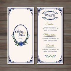 Ornamental wedding menu