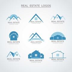 Blue real estate logos