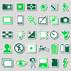 photography and camera theme color simple icons stickers set eps10