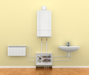 floor heating system, the collector, the battery. 3d illustratio
