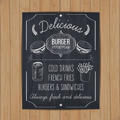 Hand drawn burger menu on blackboard